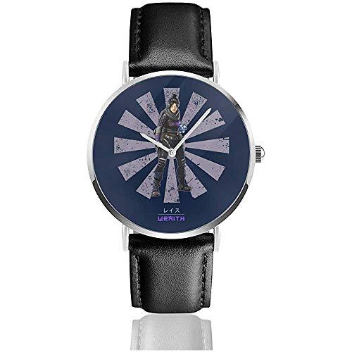 Unisex Apex Legends Wraith Retro Japanese Watches Reloj de Cuero de Cuarzo con Correa de Cuero Negro