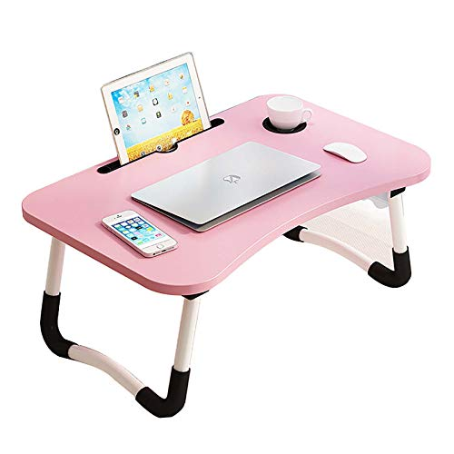 Foldable Laptop Table, Portable Laptop Bed Tray Table Folding Dormitory Table Notebook Stand Reading Holder Breakfast Serving Bed Tray with Tablet Slots & Cup Holder for Bed,sofa,Pink