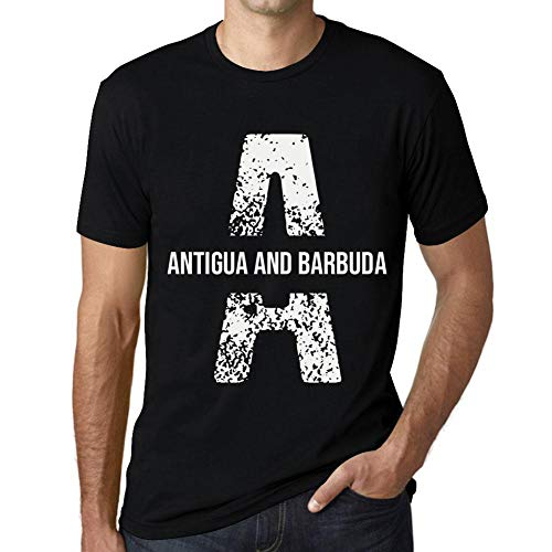 One in the City Hombre Camiseta Vintage T-Shirt Letter A Countries and Cities Antigua and Barbuda Negro Profundo Texto Blanco