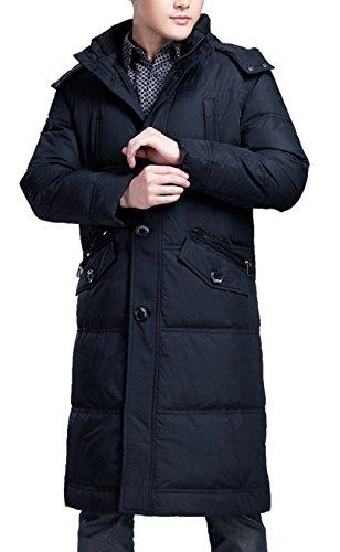 BININBOX® Doudoune Manteau Mens Parka à Capuchon Doudoune Manteau d'hiver au Chaud Manteau Longue (Français S/Fabrication GR.XL, Bleu foncé)