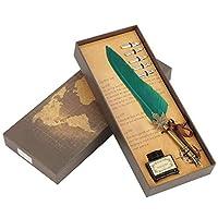 ヴィンテージフェザーつけペンセット、ヨーロッパ主義レトロクイルメタルペン先書道ライティングペンハンドクラフトギフトペン6色(緑)