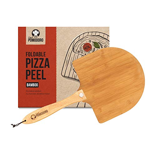 Chef Pomodoro Bamboo Pizza Peel with Foldable Wood Handle for Easy Storage, 12-Inch Diameter, Gourmet Luxury Pizza Paddle for Baking Homemade Pizza Bread