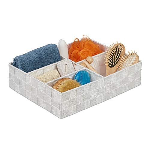 Relaxdays Aufbewahrungskorb, 5 Fächer, eckig, geflochten, PP-Kunststoff, Badezimmer Aufbewahrung, Ordnungskorb, weiß, 1 stück, 10035330_49