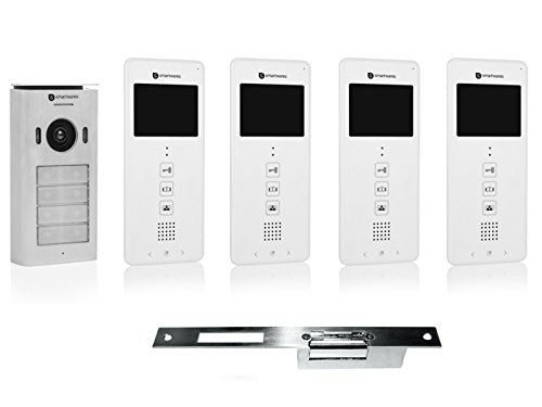 Set de videoportero de cuatro partes + abridor eléctrico para puertas de apertura ancha.