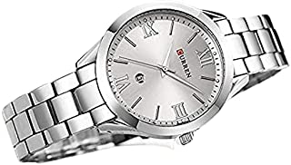 Curren 9007 Quartz Movement Stainless Steel Strap Round Analog With Date Display Silver Watch for Women