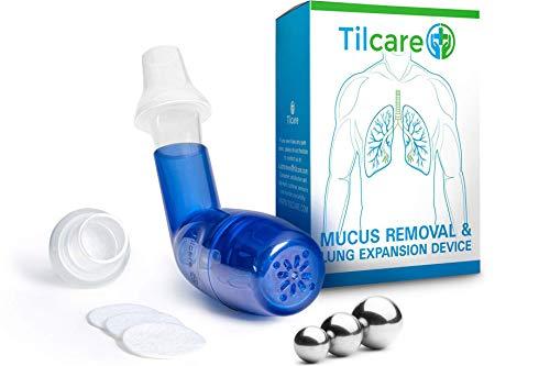 Tilcare dispositivo de eliminación de moco y expansor de pulmón respiratorio - Ayuda de terapia de ejercicio y limpieza - Gran tratamiento para EPOC, asma, bronquitis, fibrosis quística o fumadores