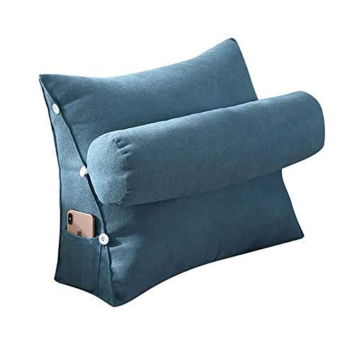 VERCART Kopfkissen Nackenstützkissen Dekokissen Lesekissen Rückenkissen für Lesen Couch Sofa Nackenrolle tv Kissen 60cm Blau