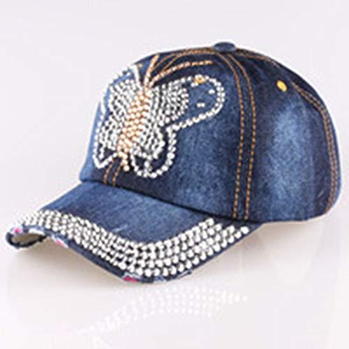 FANCYKIKI Gorra de béisbol Denim Drill Denim de Mujer Nuevo Punto AliExpress Ebay Dunhuang Taobao Versión Coreana del Sombrero de Diamante Deportivo cómodo Respirable (Color : 1)