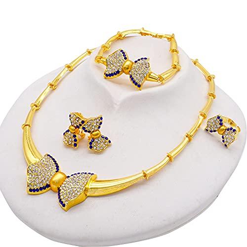xingguang Conjunto de joyas para mujer, collar y pendientes de Dubai africano indio nupcial accesorios flores conjuntos de joyas collar (color metal: chapado en cobre antiguo)
