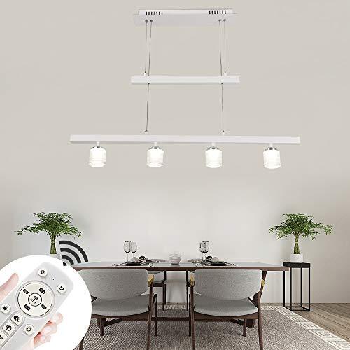 Modern Eßtischleuchte 24W 4-flammige Weiss LED Pendellampe Dimmbar Esstish Hängeleuchte mit Fernbedienung für Esszimmer Jojo Esstischlampe Wohnzimmer