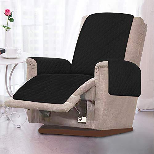 Sesselschoner, Sesselauflage, 1 Sitzer Sesselschutz Sofaüberwurf mit 2.5 cm Breiten Verstellbaren Trägern Weich,Temparaturausgleichen (schwarz)