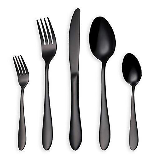 HOMQUEN Glänzend Schwarzes Besteck/Besteck Set, 30 Stück Edelstahl Messer Gabel Löffel Set für 6 Personen (schwarz, 6 Sets)