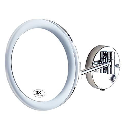 Miroir de Maquillage, LED Cosmétique de Salle de Bains Monté au Mur Grossi 3X de Rétrécissement Pliable Léger de Maquillage (Couleur : Charging Version)