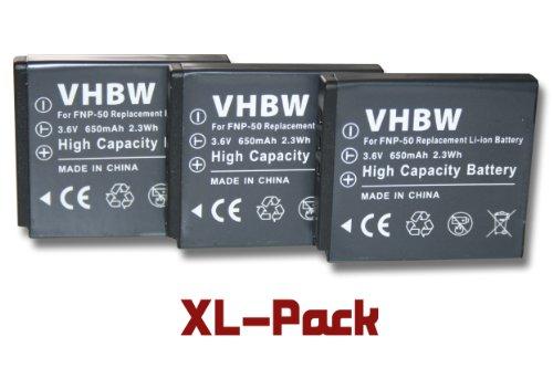3X vhbw Kamera Akku für Kodak Playsport Waterproof Pocket-Camcorder, Zi8, Zi 8 Pocket-Camcorder wie Fuji NP-50, Kodak Klic-7004.