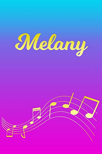 Melany: Sheet Music Note Manuscript Notebook Paper – Pink Blue Gold Personalized Letter M Initial Custom First Name Cover – Musician Composer … Notepad Notation Guide – Compose Write Songs