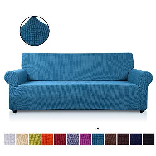 VanderHome 3 Plaza Funda de sofá Cubiertas de sofá Slipcover de sofá Protector de Muebles Resistencia al Deslizamiento Super Stretch Resistente al Desgaste Guardapolvo, Azul Verde