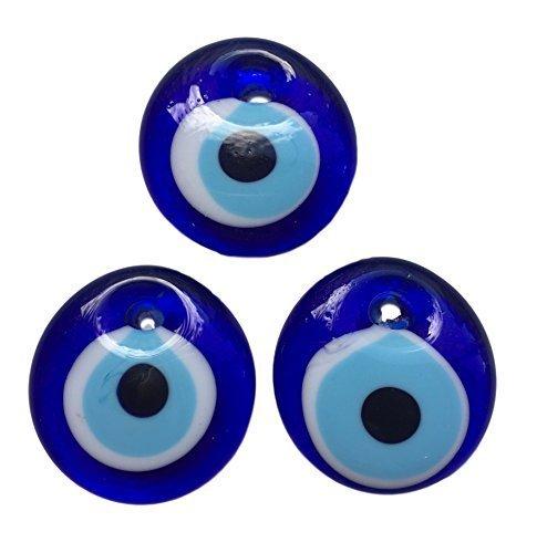 3 ojos turco para colgar- cristal contra el mal de ojo azul y blanco y