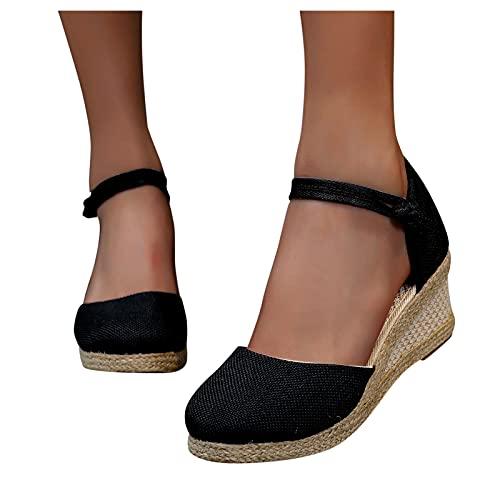 Hosamtel for Women Closed Toe Retro Wedge Casual Sandals Buckle Strap Ladies Espadrilles Wedge Sandals Black