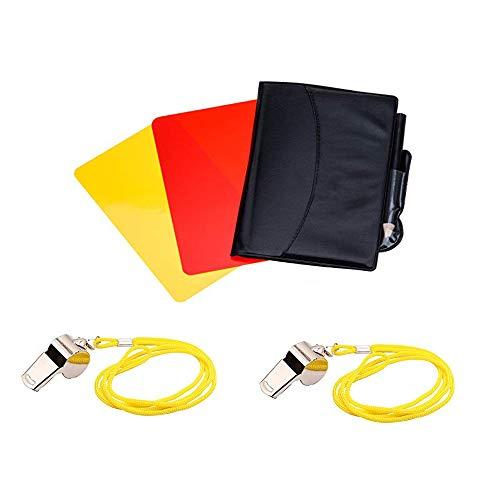Een sport scheidsrechter Set, scheidsrechter Card Set, met 2 RVS scheidsrechter Fluitjes en rode kaart gele kaart scheidsrechter, voor verschillende sporten