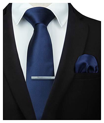 HISDERN Panuelo de corbata azul marino liso para hombre Fiesta de bodas Clasico corbata y panuelo de bolsillo Conjunto