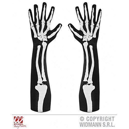 Lively Moments Handschuhe Skelett mit Knochenaufdruck ca. 50 cm beidseitig Bedruckt / Skeletthandschuhe Halloween / Skelettkostüm Zubehör