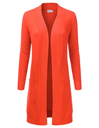 JJ Perfection Womens Light Weight Long Sleeve Open Front Long Cardigan Orange S