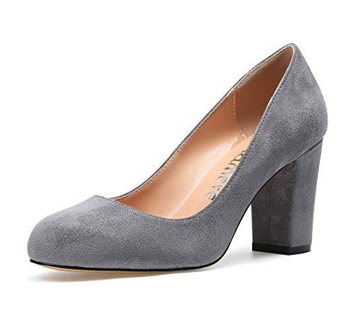 CASTAMERE Damen High Heels Runde Zehen Partie Pumps Blockabsatz 8CM Wildleder Grau Schuhe EU 39
