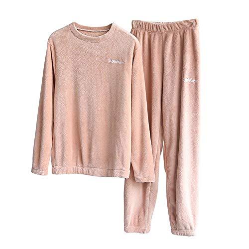 Conjunto de Pijamas Gruesos para Mujer para Mujer Pantalones de Franela cálidos de Invierno Conjuntos de Pijamas de Dos Piezas/Conjunto Ropa de Dormir de Coral Traje Pijamas Mujer, H, M