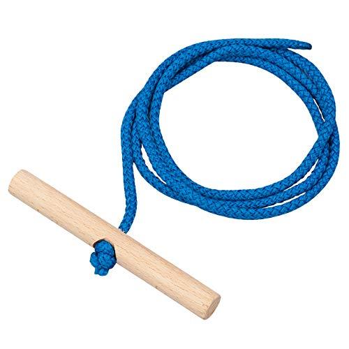 Vispronet Schlittenleine 150 cm, Farbe Blau, mit Holzgriff, Zugseil für Holzschlitten, Polyester