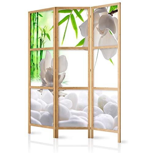 murando - Paravent Blumen Bambus Spa 135x171 cm - 3-teilig - einseitig - eleganter Sichtschutz - Raumteiler - Trennwand - Raumtrenner - Holz - Design Motiv - Deko - Japan p-B-0036-z-b