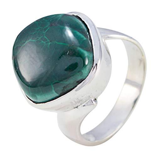 joyas plata echte edelsteine kissen form ein stein cabochon malachit ringe - 925 sterling silber grün malachit ring - dezember geburt schütze astrologie echte edelsteine ring