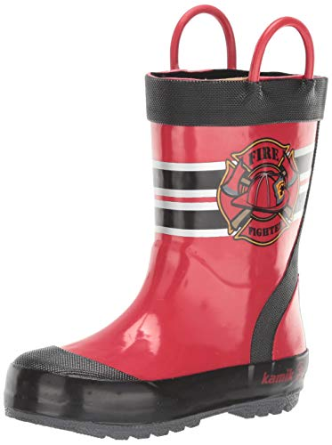 Kamik Baby-Boy's Fireman Rain Boot, RED, 3 M US Infant