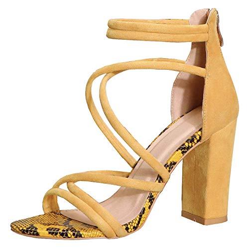 Lydee Mujer Gladiador Sandalias Tacon Ancho Tacon Alto Clasico Verano Zapatos Correa De Tobillo Punta Abierta...