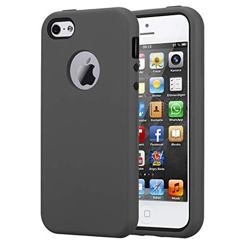 Cadorabo Hülle für Apple iPhone 5 / iPhone 5S / iPhone SE in Quarz GRAU – Hybrid Handyhülle mit TPU Silikon Innenseite und 2teiliger Kunststoff Außenseite – Schutzhülle Hybrid Hardcase Back Case