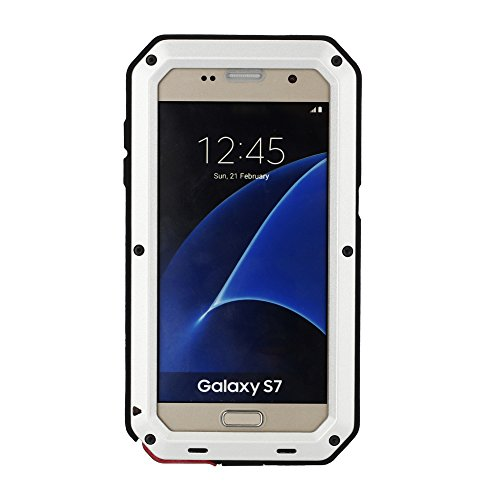Samsung Galaxy S7 Aluminum Metal Case,[Military Heavy Duty] Extreme Water-Resistant Shock/Dust/Dirt/Snow Proof with Armoured Glass Protection Cover Case (Silver)