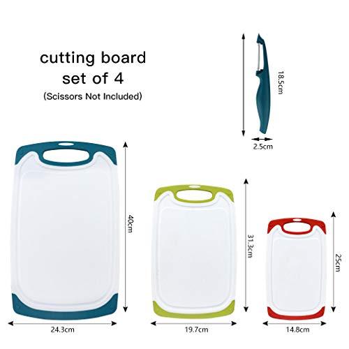 BPA Free Plastique Cuisine planches à découper avec pieds de Skerito à découper Board Set