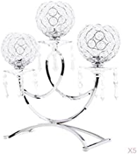 Fenteer 5xCrystal Votive 3 Arms Candelabra Candle Holder Stand Wedding Decor Silver