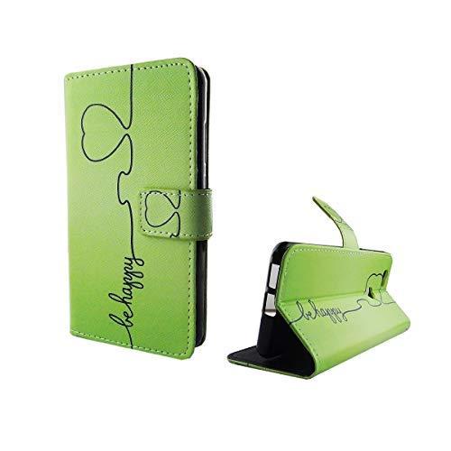 König Design Handyhülle Kompatibel mit Huawei Nova Handytasche Schutzhülle Tasche Flip Hülle mit Kreditkartenfächern - Be Happy Design Grün