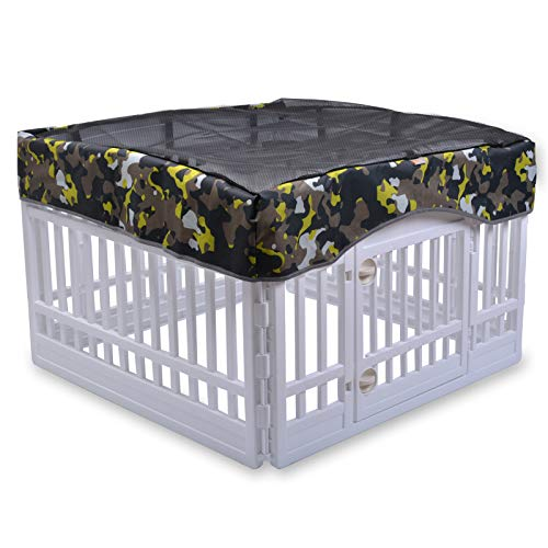 Pet Mesh Top Cover- Keeps Pet Secure and Prevent Escape, Sun Protection Shade Cover for Use with 24'' 4-Panel Plastic Pet Pen(Cover Only)