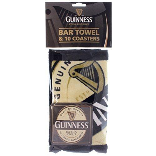 Guinness - Set di asciugamani e sottobicchiere, prodotto ufficiale Guinness