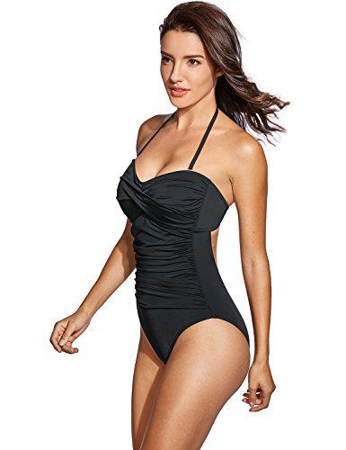 Dobreva Donna Costume da Bagno a Fascia Allacciatura al Collo Nero IT 50 (EU 44)