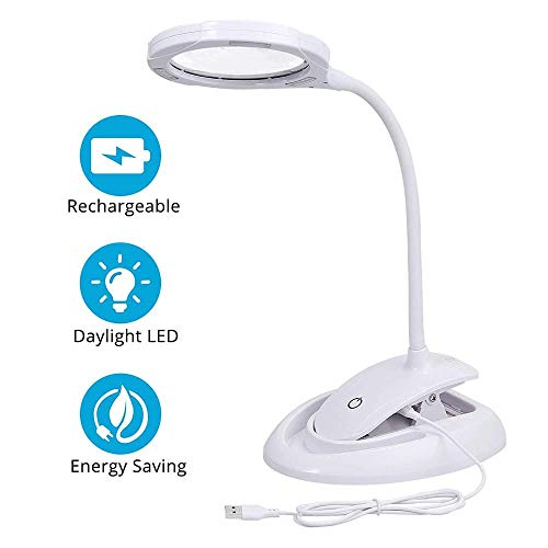 JI TA loeplamp 5-10-voudige vergroting met LED-daglicht, klem en mobiele telefoonhouder vloerloep lamp met standvoet ideaal voor precisiewerk, lezen en hobby's knutselen