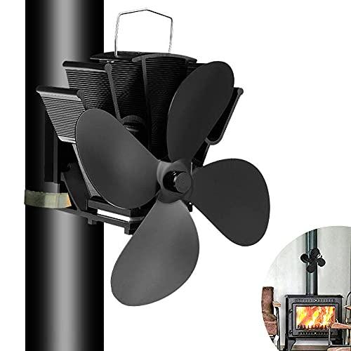 4-Blade Kaminventilator, Stromloser Ventilator für Kamin Holzöfen Öfen, Geräuscharmer Betrieb, Ventilator Ofenventilator Feuerstelle Kaminöfen für Holz- / Holzbrenner/Kamin erhöht