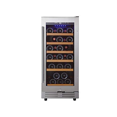 Wine Enthusiast Classic 15-Inch Under-Counter Wine Refrigerator - 30 Bottle Wine Fridge, Stainless Steel
