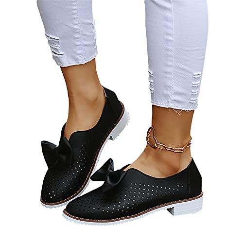 RealKing Été évider Bowknot Chaussures pour Femmes Grande Taille Casual Chaussures en Cuir Simples Femmes Chaussures de Marche Casual Confortable Respirant Plat Simple Compensées Évider Chaussures