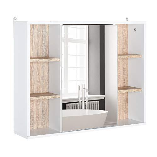 HOMCOM Spiegelschrank Badschrank Hängeschrank Wandschrank mit Spiegel Badmöbel Mehrzweckschrank mit 6 offenen Ablagen, Spanplatte+MDF, Weiß + Natur 60 x 14,5 x 49,4 cm