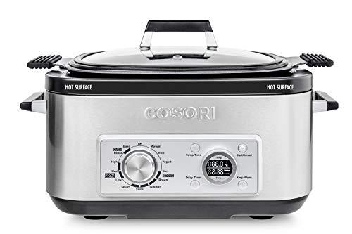 COSORI Slow Cooker 6Qt 11-in-1 Programmable Multicooker, Rice, Brown, Saute, Boil, Steamer, Yogurt Maker, Auto-Warmer, Delay Timer, 86°F, UL Listed/FDA Compliant