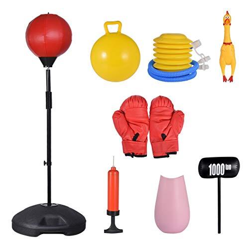 iBaste Juego de boxeo con guantes de boxeo y bomba, juego de saco de boxeo, velocidad vertical, juego de bolas de descompresión, saco de arena
