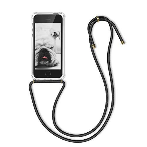 kwmobile Schutzhülle kompatibel mit Apple iPhone SE (1.Gen 2016) / 5 / 5S - Hülle mit Kordel zum Umhängen - Silikon Handy Hülle Transparent Schwarz