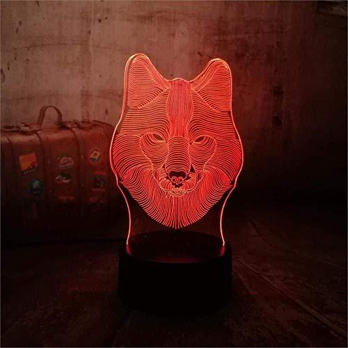 3D Illusion 7 Color Touch Ligh Cool Bet Wolf Head ren Chica de Halloween 7 colores Decoración Luz de mesa Ilusión óptica Cambio con control remoto Regalos de cumpleaños para